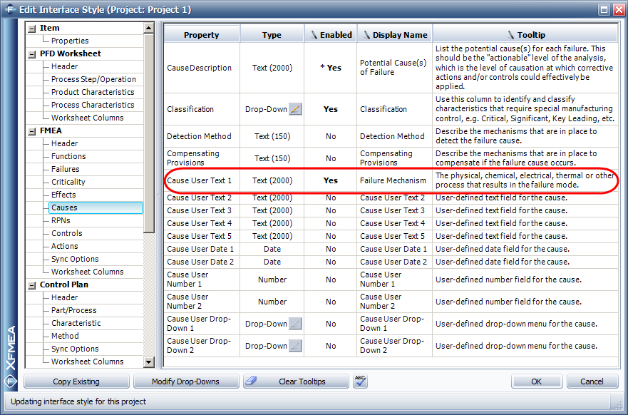 How Can I Include Custom Properties In My Xfmearcmrbi Projects. Project > Management Con Urable Settings Interface Style Then Go To The Fmea Causes Page Enable And Rename One Of Available User Defined. Worksheet. Project Worksheet Definition At Mspartners.co
